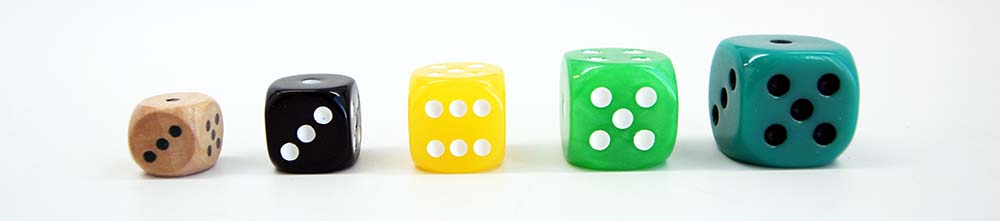 Dice Sizes 10mm, 12mm, 14mm, 16mm, 20mm