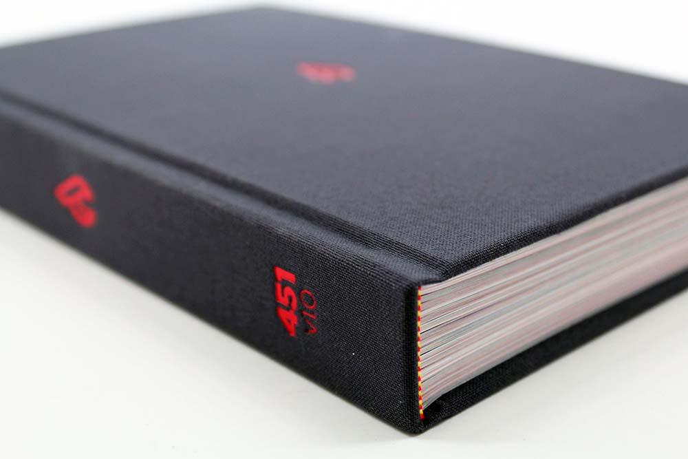 Grey Cloth Bound Book with Red Hot Foil Stamping