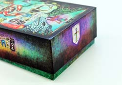 Box that can hold cards, boards, and a variety of components.